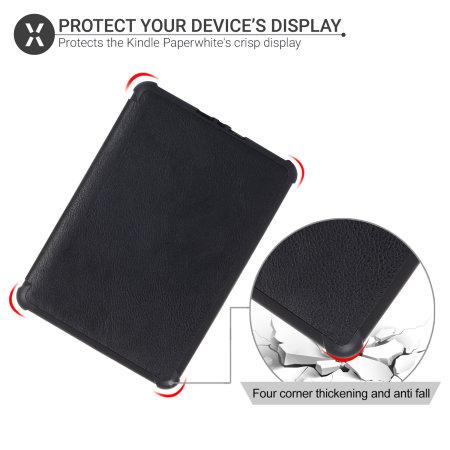 Olixar Leather-Style Kindle Paperwhite 4 TPU Case - Black