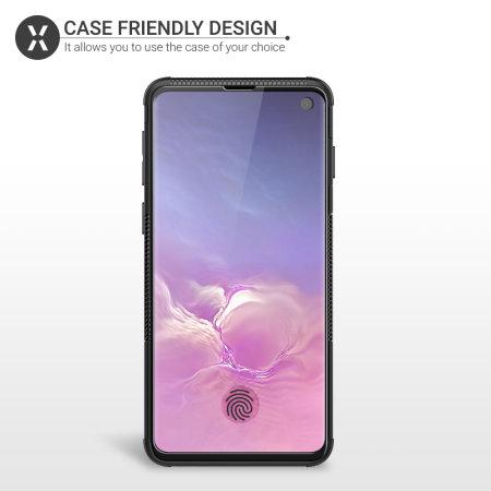 Olixar Galaxy S10 Case Compatible Glass Screen Protector - Black