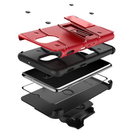 Zizo Bolt OnePlus 6T Robustes Gehäuse & Displayschutz - Rot / Schwarz