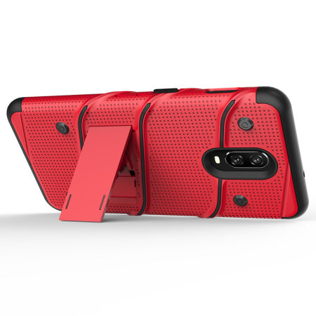 Zizo Bolt Series OnePlus 6T Stoere Case & Riemclip - Rood
