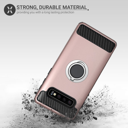 Olixar ArmaRing Samsung Galaxy S10 Finger Loop Tough Case - Rose Gold