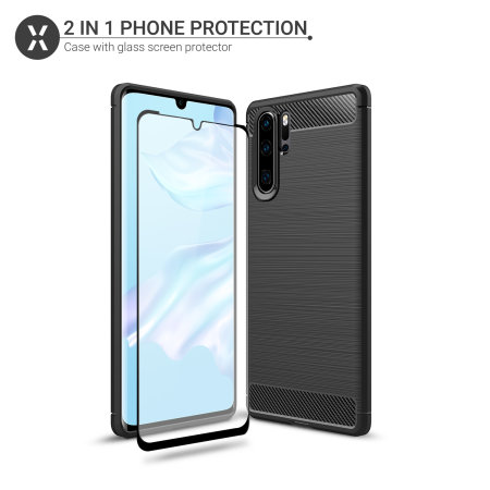 Olixar Sentinel Huawei P30 Pro Case and Glass Screen Protector - Black