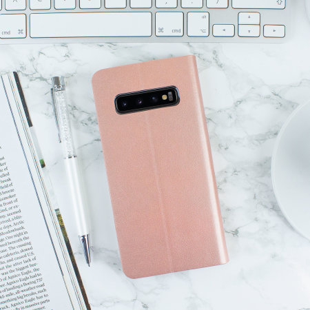 Olixar Leather-Style Samsung Galaxy S10 Plus Mirror Case - Rose Gold