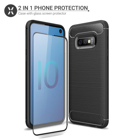 Olixar Sentinel Samsung S10e Case & Glass Screen Protector - Black
