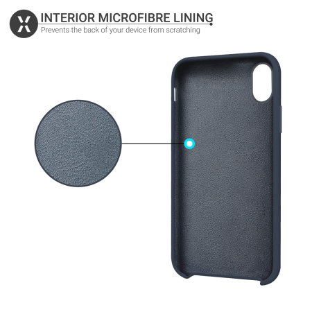 Olixar iPhone XS Soft Silicone Case - Midnight Blue