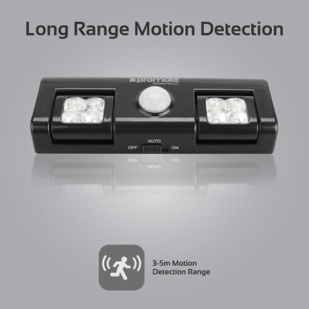 Promate MotionFlux Indoor Motion Activated LED Lights - Black