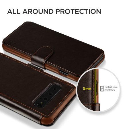 VRS Design Dandy Leather-Style Samsung S10 Wallet Case - Dark Brown