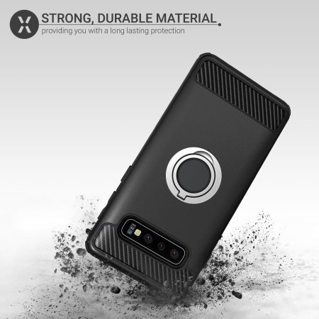 Olixar ArmaRing Samsung Galaxy S10 Plus Finger Loop Tough Case - Black