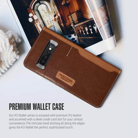 Obliq K3 Samsung Galaxy S10 Wallet Case - Brown
