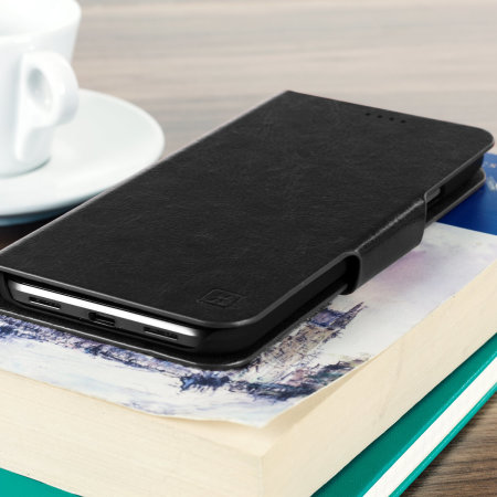 Olixar Leather-Style Moto G7 Power Wallet Stand Case - Black