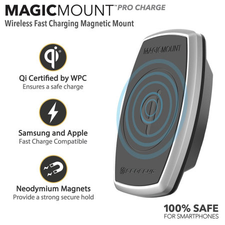 Scosche Magicmount Pro 10W Qi Wireless Air Vent Car Charger - Black