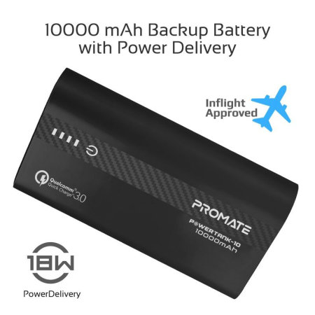 Promate PowerTank-10 Power Delivery Power Bank - 10,000 mAh