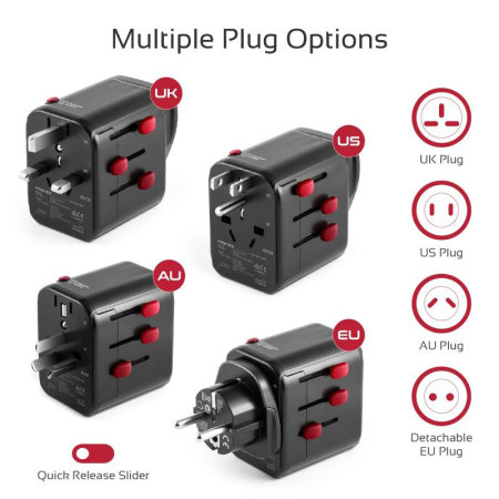 Promate Grounded Travel Adapter World Wide Compatibility - Black