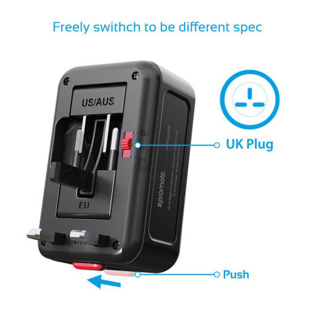 Promate Universal Travel Adaptor Dual USB Port - Black