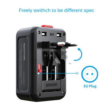 Promate Universal Travel Adaptor Dual USB Port - Black
