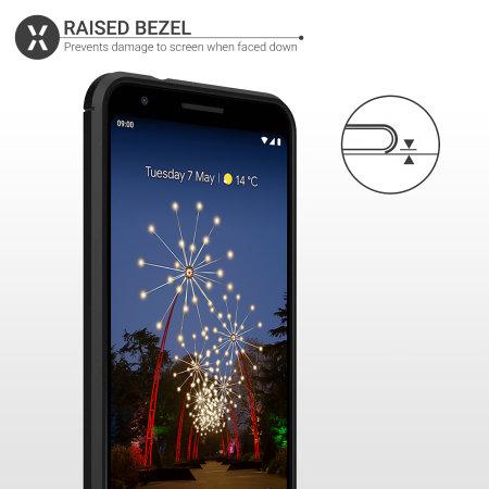 Olixar Sentinel Pixel 3a XL Hülle und Glas Displayschutz - Schwarz