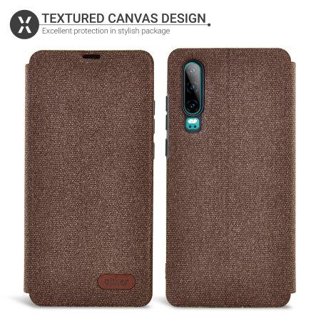 Canvas Huawei P30 Wallet Case - Brown
