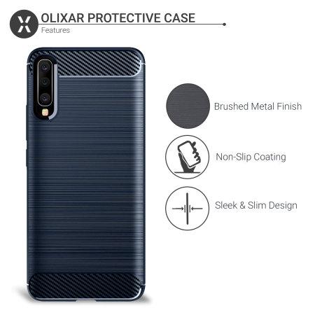 Olixar Samsung Galaxy A50 Carbon Fibre Protective Case - Blue