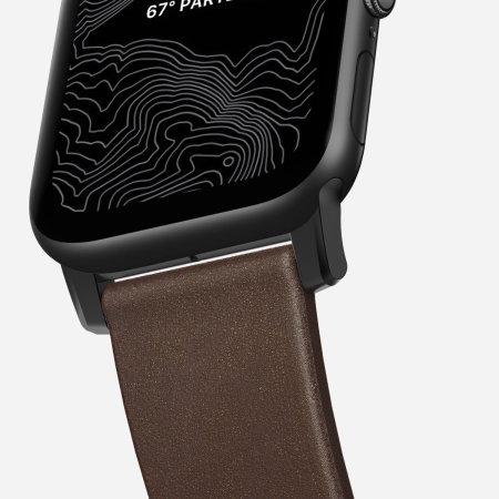 Nomad Apple Watch 44mm / 42mm Brown Leather Strap - Black Hardware