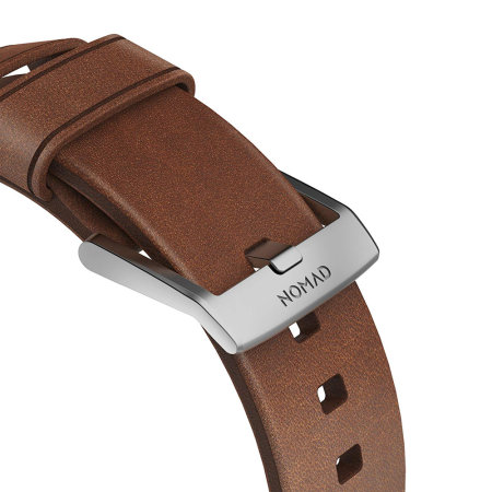 Nomad Apple Watch Strap- 44mm/42mm Brown Leather- Silver Hardware