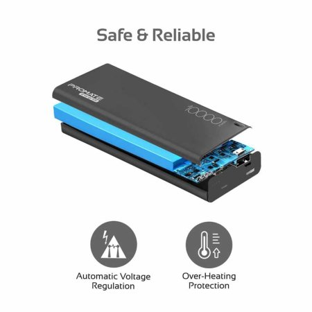 Promate Ultra-Slim Type-C & USB Dual Port Power Bank 10,000mAh - Black