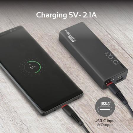 Promate Ultra-Slim Type-C & USB Dual Port Power Bank 10,000mAh - Black