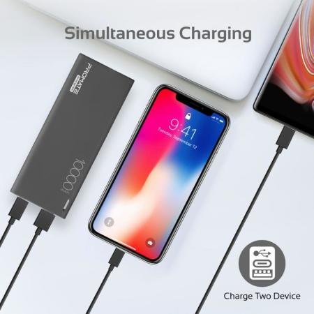 Ultra-Slim 10000mAh Power Bank With Type-C And 2.1A USB Charging Port