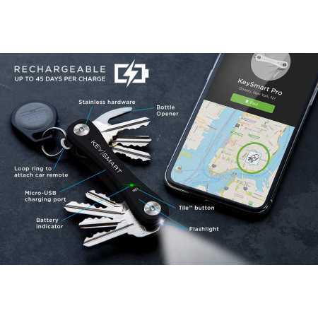 KeySmart Pro Compact Key Holder with Tile Smart Location