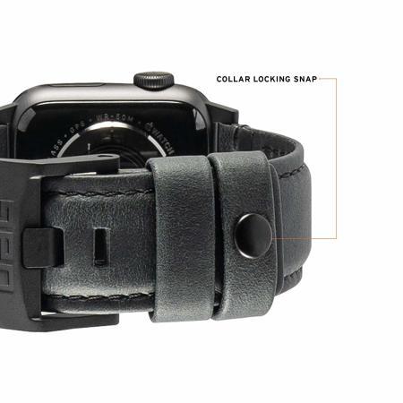"""UAG Apple Watch 44"""" / 42"""" correia de couro - Preto"""