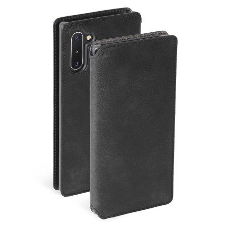 Krusell Samsung Note 10 Premium Leather Wallet Case - Vintage Black