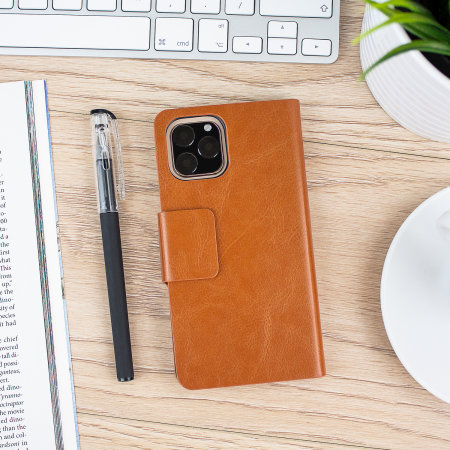 Olixar Leather-Style iPhone 11 Pro Wallet Stand Case - Brown