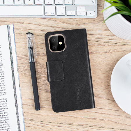 Olixar Leather-Style iPhone 11 Wallet Stand Case - Black