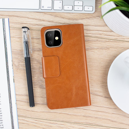 Olixar Leather-Style iPhone 11 Wallet Stand Case - Brown