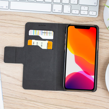Olixar Lederen Stijl iPhone 11 Pro Max Portemonnee Case - Zwart