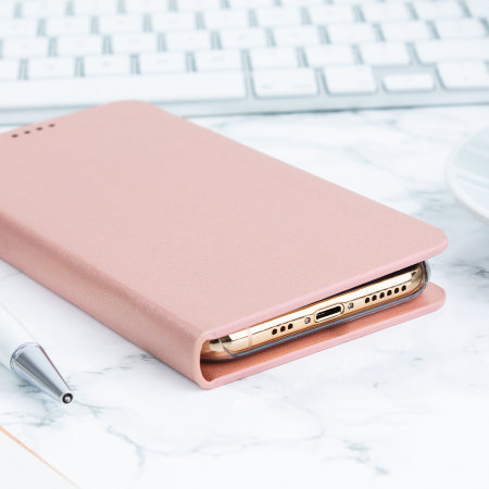 Olixar Leather-Style iPhone 11 Pro Max Mirror Stand Case - Rose Gold