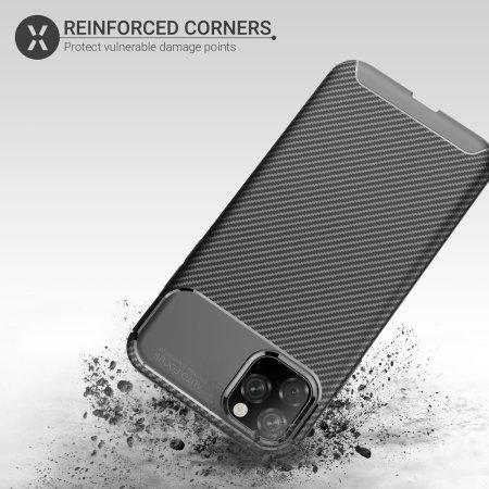 Coque iPhone 11 Pro Max Olixar effet fibre de carbone – Noir