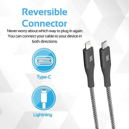 Promate UniLink-LTC Braided USB-C to Lightning Cable - 1.2m - Grey