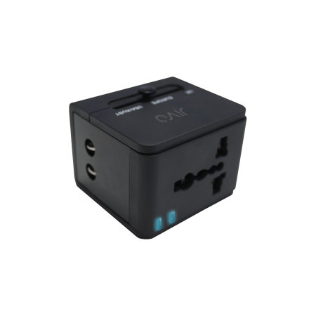 Jivo World Travel Plug W/Dual USB Black