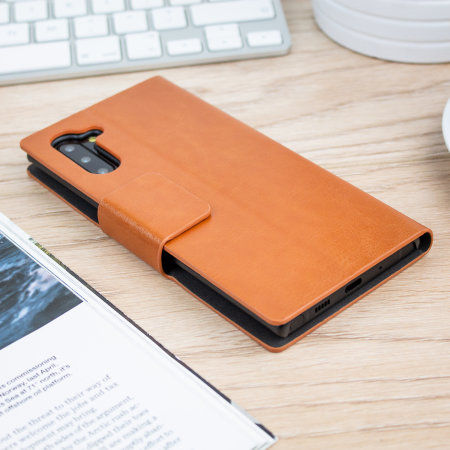 Olixar Leather-Style Samsung Note 10 Wallet Stand Case  - Brown