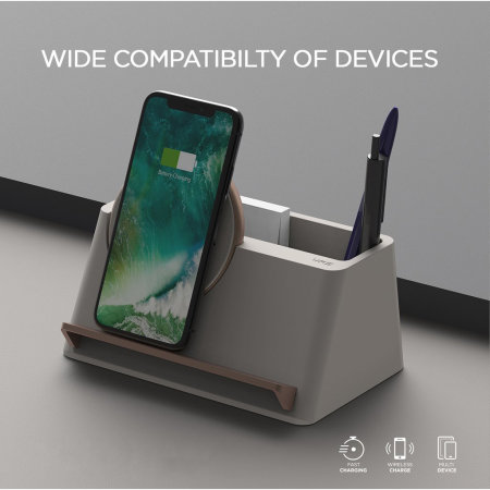 VRS Halo Box Fast Wireless Charging Station - Warm Grey