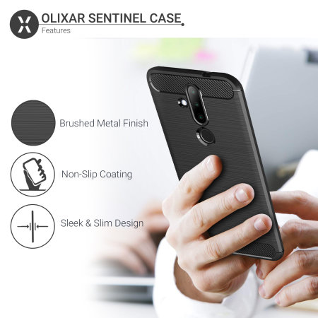 Olixar Sentinel Nokia 8.1 Plus Case & Glass Screen Protector - Black