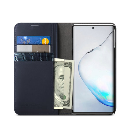 VRS Design Genuine Leather Diary Samsung Note 10 Plus Case - Navy