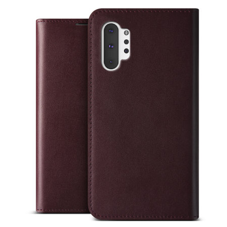 VRS Design Genuine Leather Diary Samsung Note 10 Plus Case - Wine