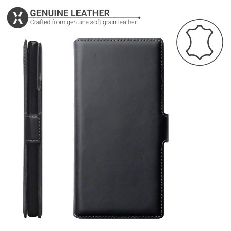 Olixar Slim Genuine Leather Samsung Note 10 Plus Wallet Case - Black