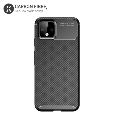 Olixar Google Pixel 4 Carbon Fibre Protective Case - Black