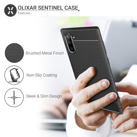 Olixar Sentinel Samsung Note 10 Case & Glass Screen Protector - Black