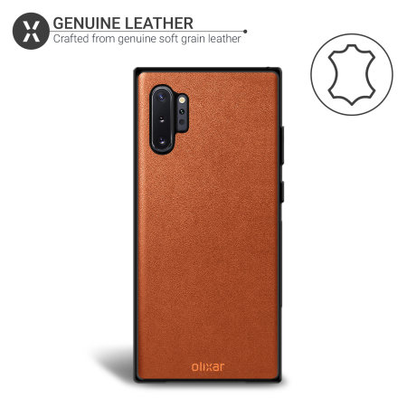 Olixar Genuine Leather Samsung Galaxy Note 10 Plus Case - Brown
