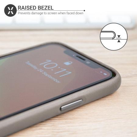 Olixar Genuine Leather iPhone 11 Pro Case - Grey