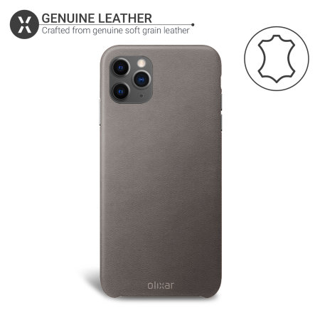 Olixar Genuine Leather iPhone 11 Pro Max Case - Grey
