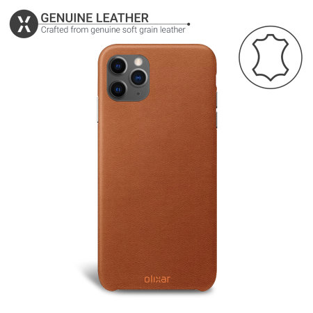 Coque iPhone 11 Pro Max Olixar en cuir véritable – Marron